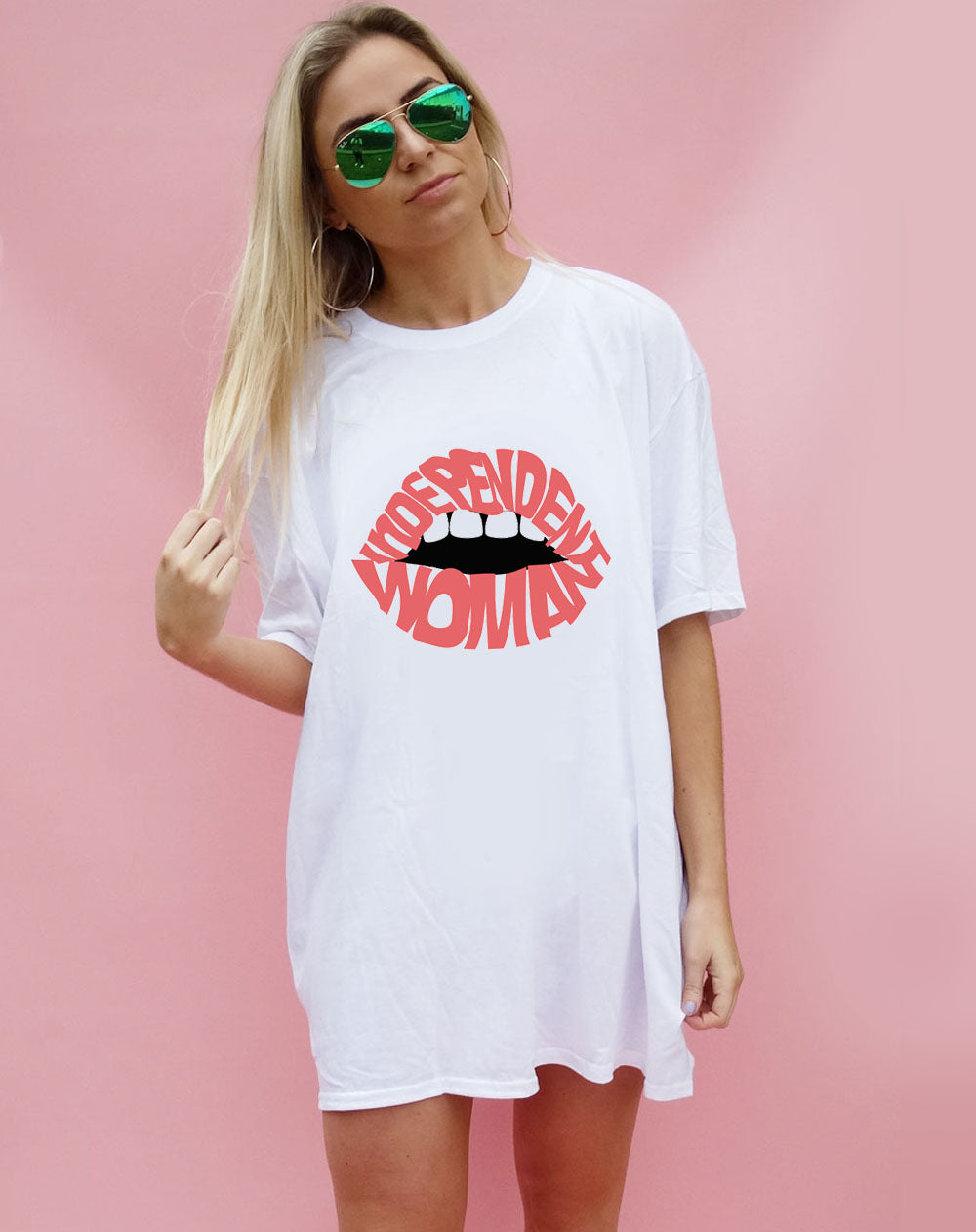 Independent Pink Lip Oversized T-shirt in White