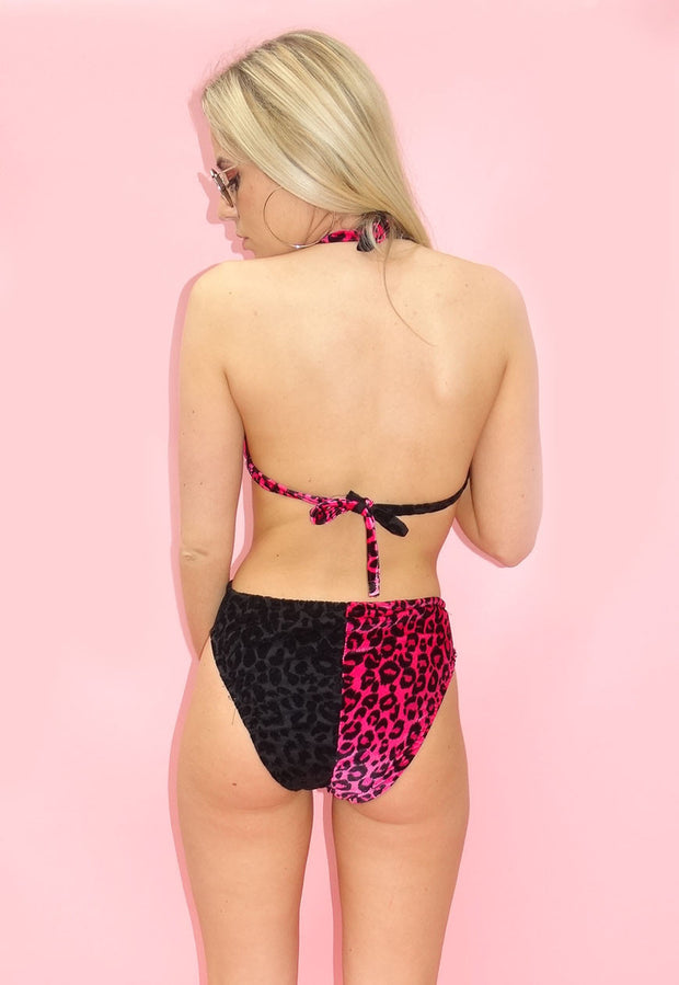 Velour Hot Pink & Black Animal Print Bikini Bottoms