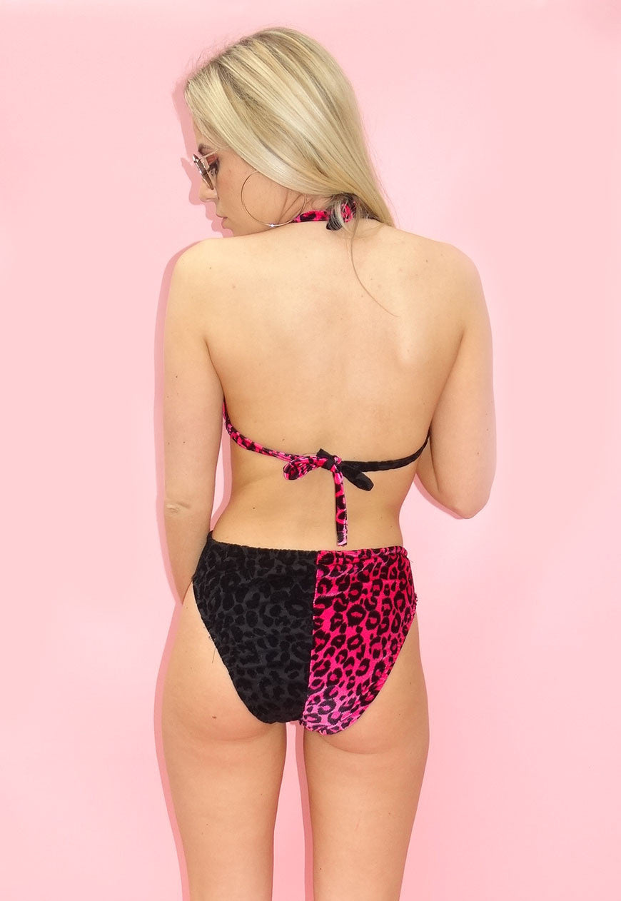 Velour Hot Pink & Black Animal Print Bikini Top
