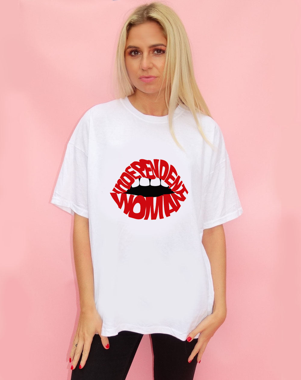 Independent Red Lip Graphic T-shirt in White