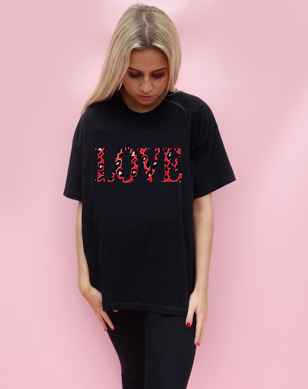 Red and Black Leopard Love Tshirt in Black