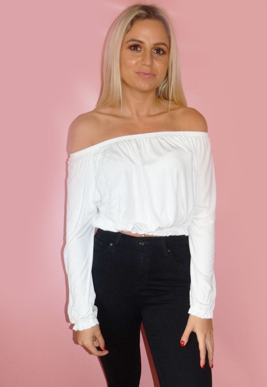 White Bardot Crop Top