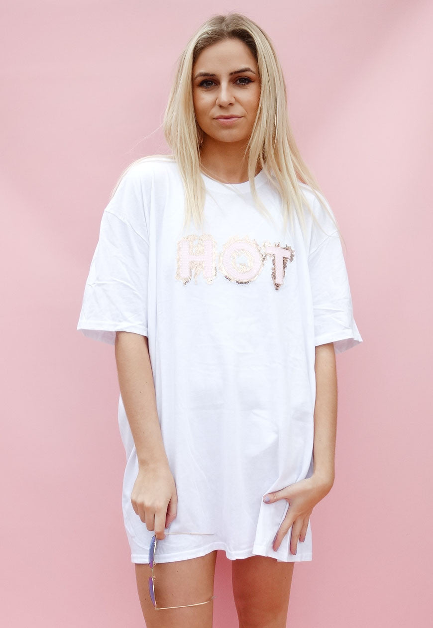 Hot Sequin Print Oversize Tee