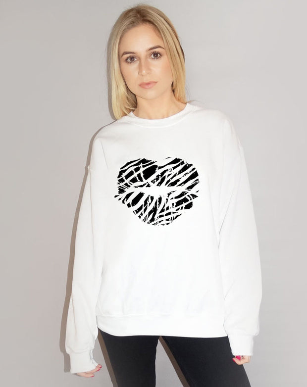 Jumper In White With Black Zebra Kiss Lip