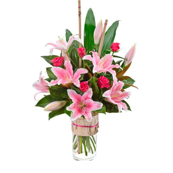Allegra - Pink Roses & Lilies in Glass Vase