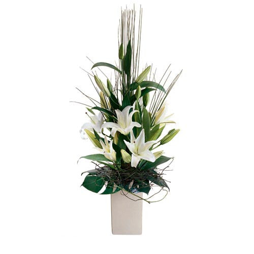 Tranquillity - WHITE LILIES - (ceramic base)