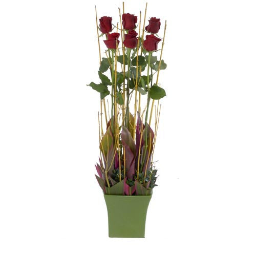 Adore - 6 RED ROSES - (Valentine Ceramic Pot)