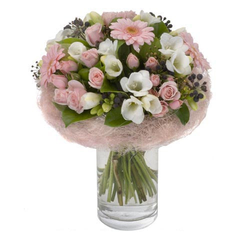 Petite Belle - Pastel Pink Bouquet in a Glass Vase