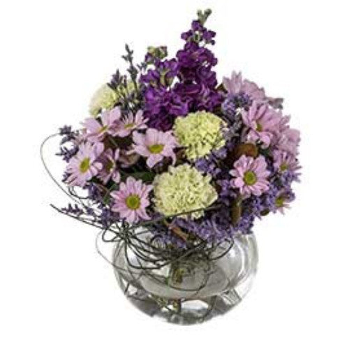 Audrey - Seasonal Bouquet in a Fishbowl Vase