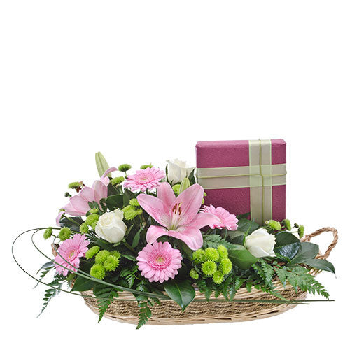 Double Delight - Lavish Basket of Mixed Blooms with Boxed Chocolates