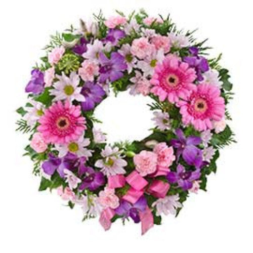 Eternity  Cluster Wreath Suitable for Service - PINK & PURPLE