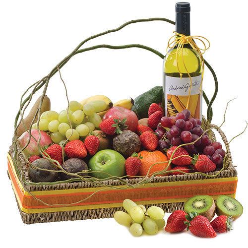 Nature's Bounty - FRUIT & WINE HAMPER - (basket)