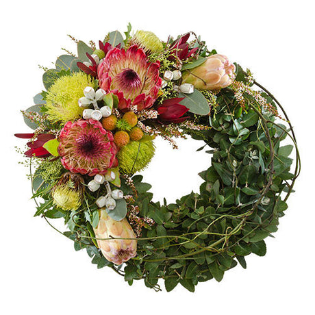 With Sorrow  Wreath of Indigenous Flowers Suitable for Service