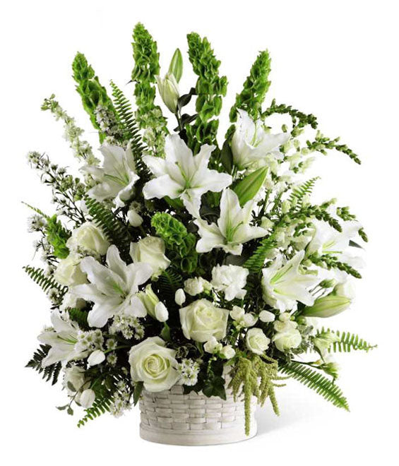 WHITE FLOWER BASKET - Suitable for Service
