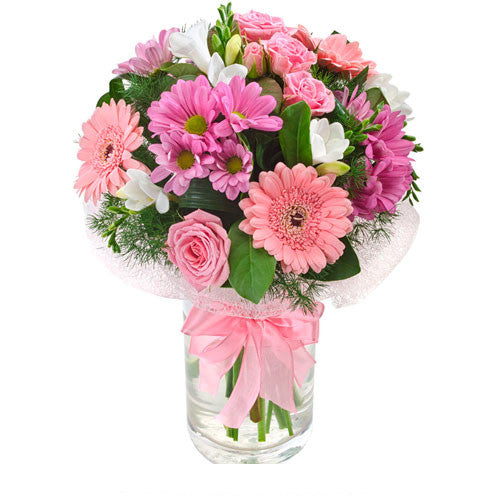 Pink Lady Vase of FRESH FLOWERS