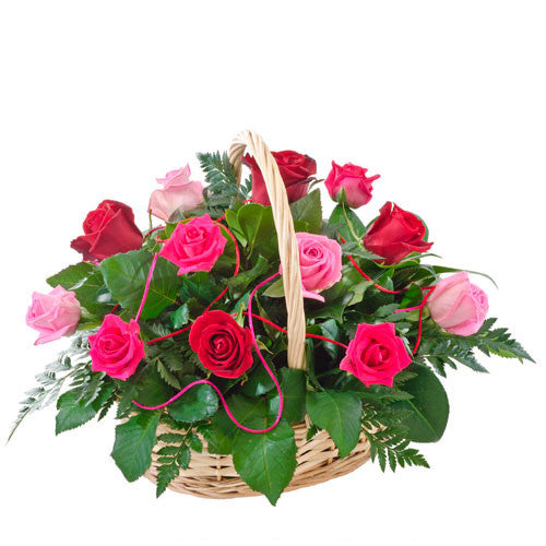 Caress - 24 ROSES - (Valentine Basket)