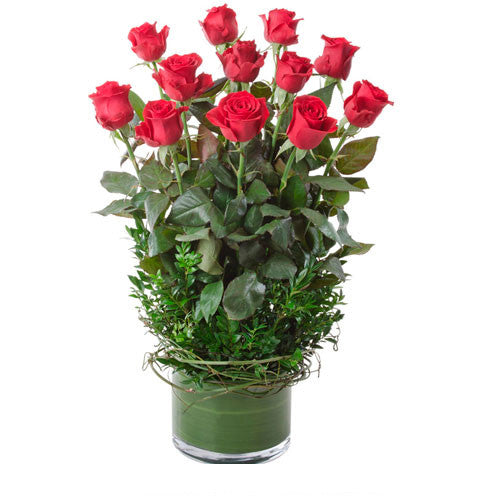 Desire - 12 RED ROSES in Glass Vase