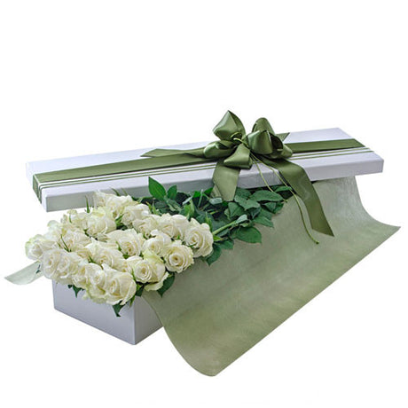 Irresistible - 24 WHITE ROSES (Valentine Boxed Roses)