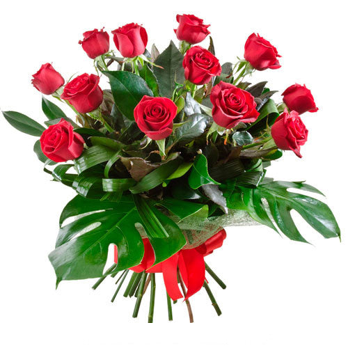 Temptation - 12 RED ROSES  (Valentine Bouquet - optional vase)