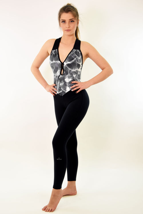 RIO GYM Ana Jumpsuit - Black & White yoga wear for women