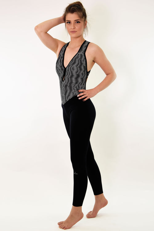 RIO GYM Jenny Jumpsuit - Black & White yoga wear for women