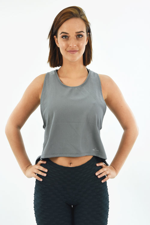 RIO GYM Marcia Crop  Tank Grey yoga wear for women