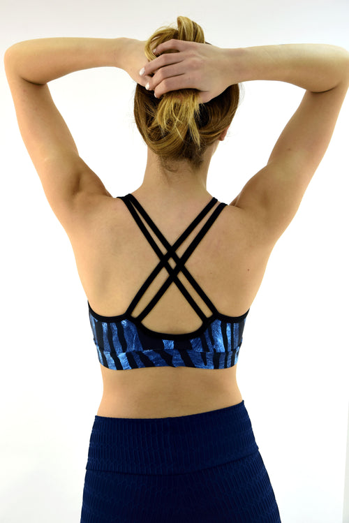 RIO GYM Lagoa Bra - Zebra Blue yoga wear for women