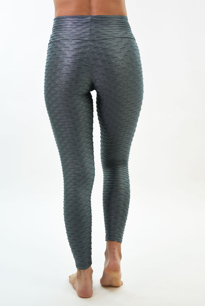 RIO GYM Ana Ruga Silver Shiny Legging yoga wear for women
