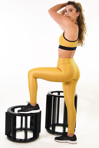 RIO GYM Ana Ruga Gold Shiny Legging yoga wear for women
