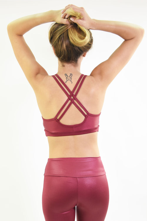 RIO GYM Lagoa Bra -Shiny  Bordeaux yoga wear for women