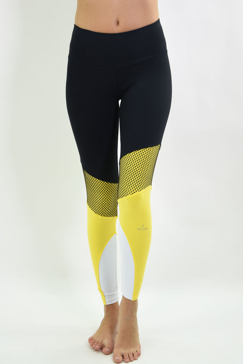 RIO GYM Otavia Legging - Black & Yellow yoga wear for women