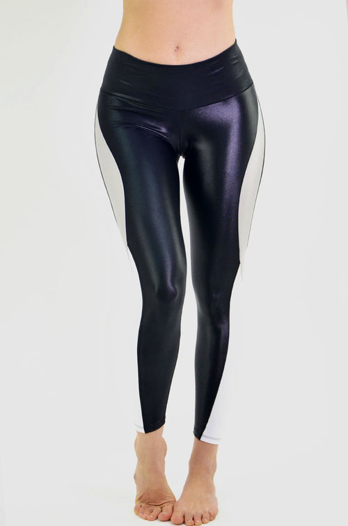 RIO GYM Nadia Metallic Black Legging yoga wear for women