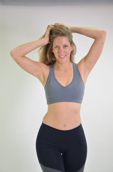 RIO GYM Ellie Bra - Grey yoga wear for women