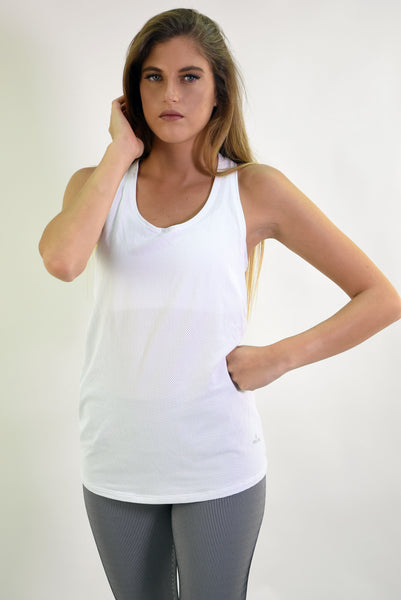 RIO GYM Jessica Tank - White yoga wear for women