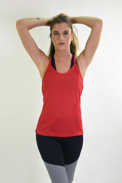 RIO GYM Arianna Tank - Red yoga wear for women