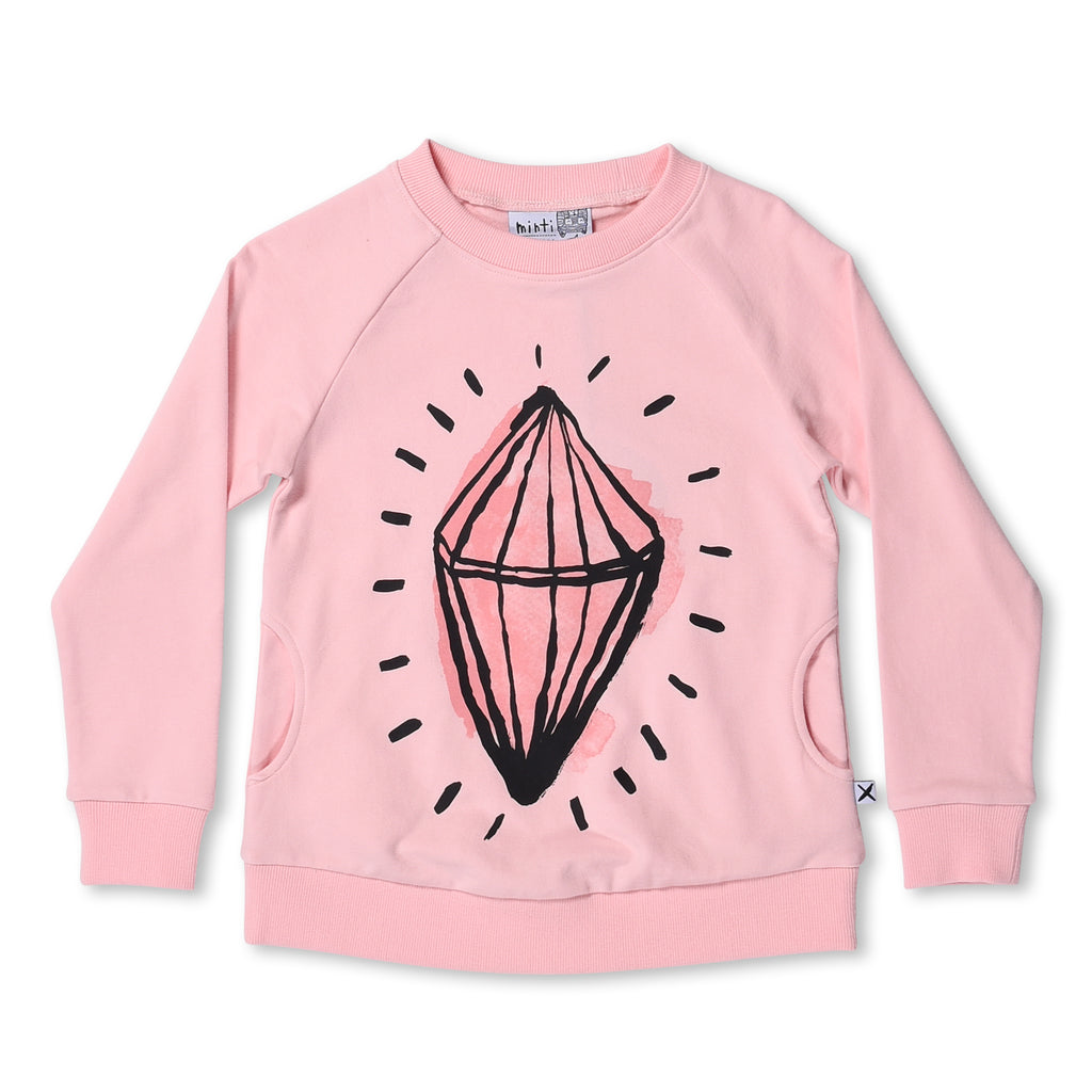 Diamond Crew Jumper Ballet Pink
