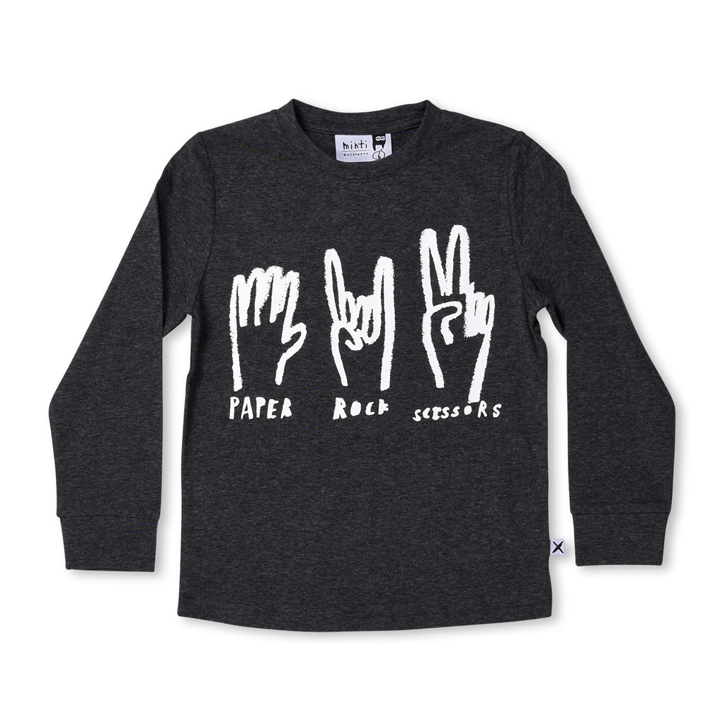 MINTI-Paper Rock Scissors Tee (Black Motley)