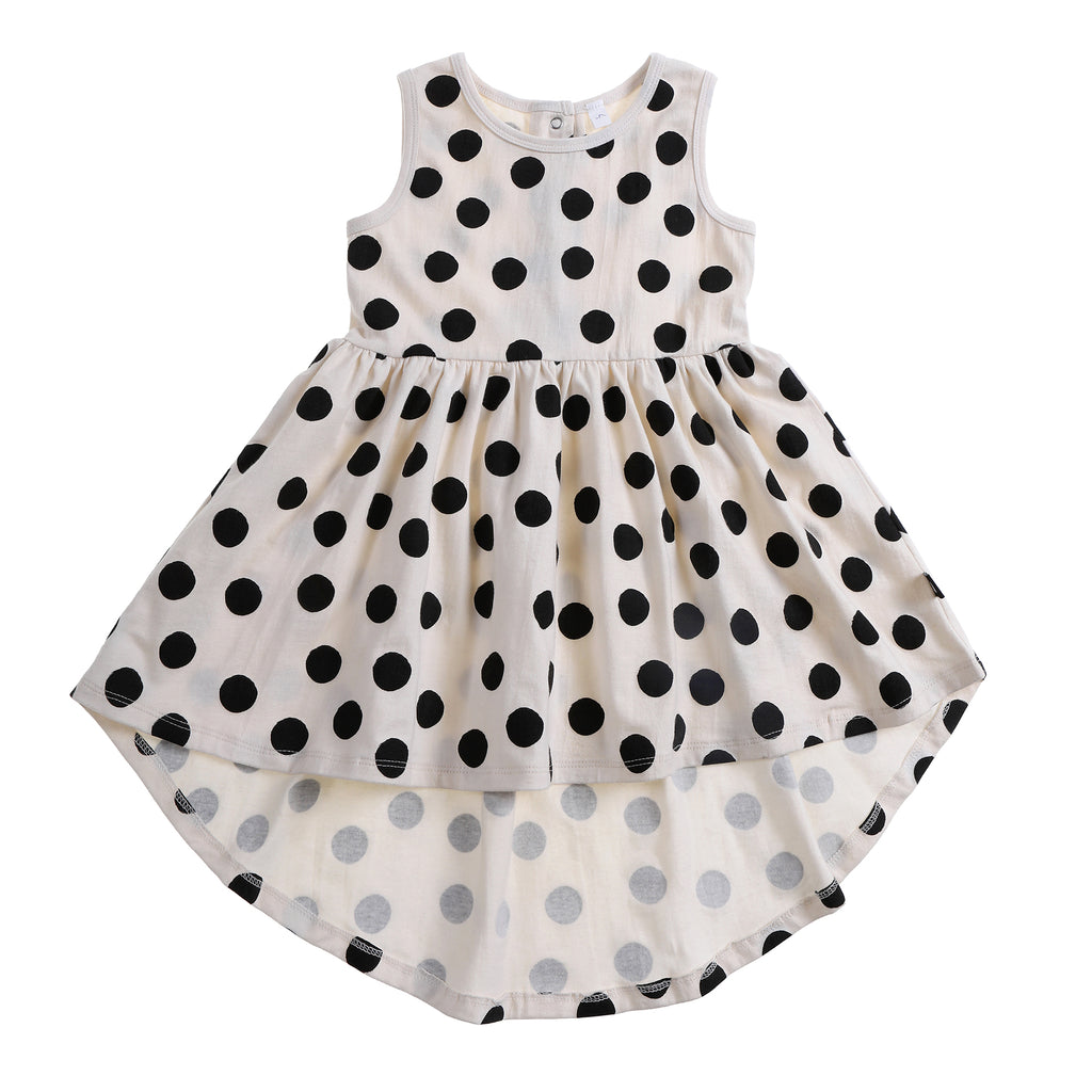 SPOT AOP SLEEVELESS DRESS LILY WHITE