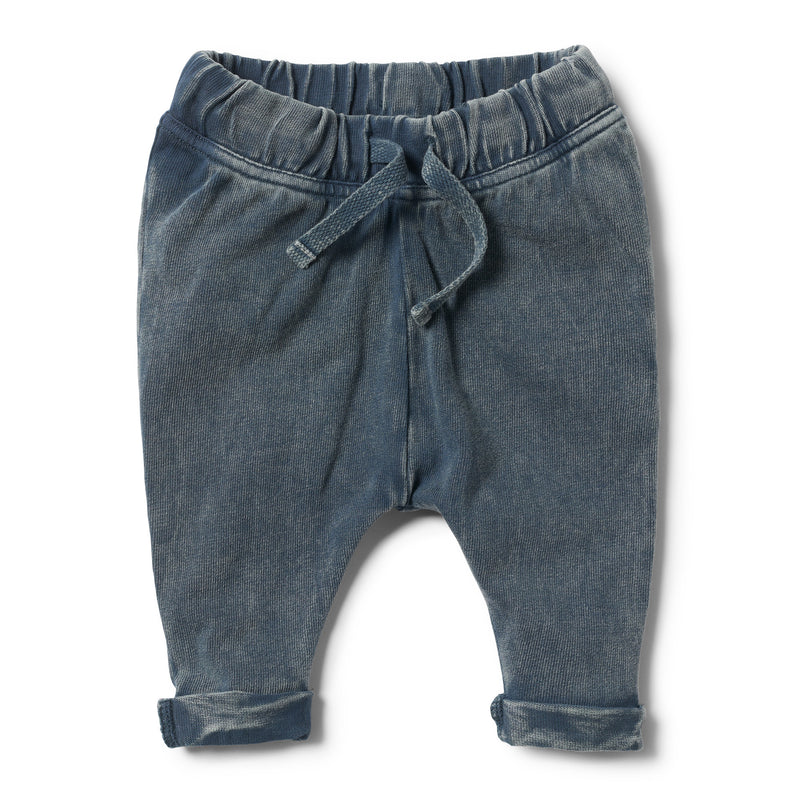 STEEL BLUE WASHED BACK SLOUCH PANT
