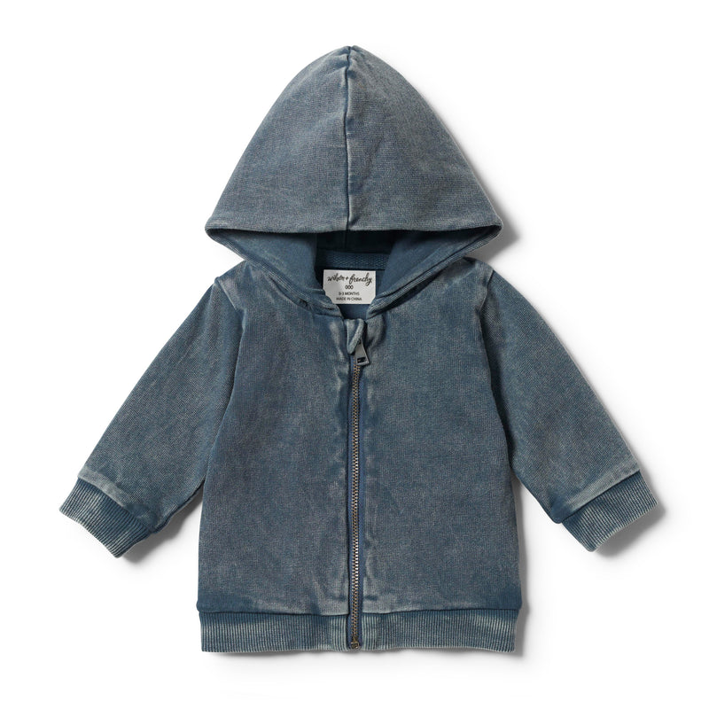 STEEL BLUE HOODED JACKET WITH ZIP
