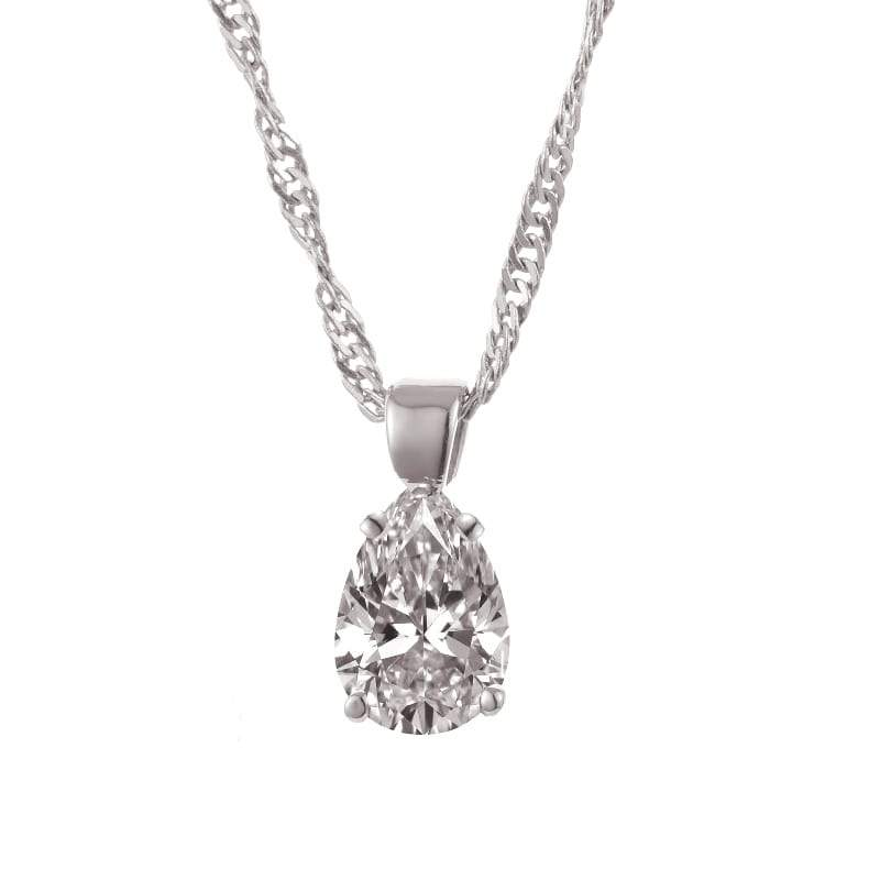 A diamond pendant on gold necklace dianoche diamonds single diamond necklace set with pear shape diamond aloadofball Image collections