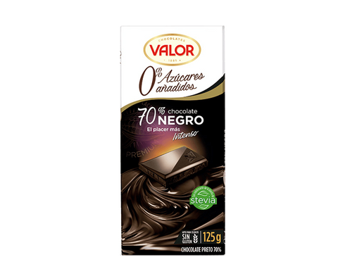 CHOCOLATE NEGRO 70% SIN AZUCAR VALOR 125