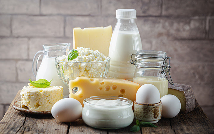 Fresh dairy products having milk,cottage,cheese and eggs
