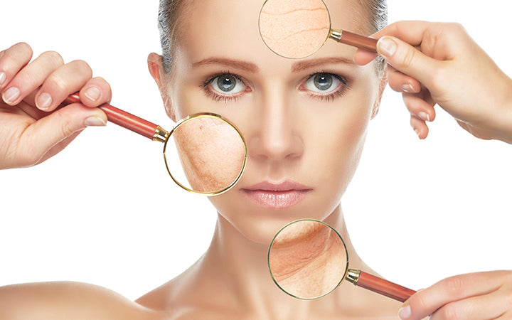 beauty concept of skin aging and anti-aging procedures