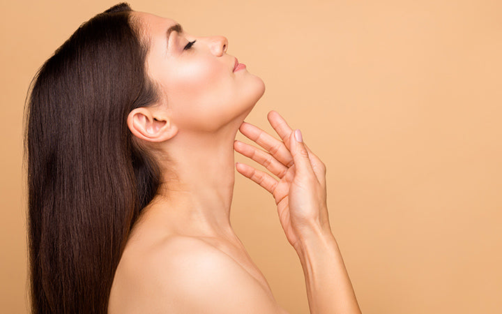 lady natural beauty no makeup touch pure soft neck skin applying anti age cream perfection