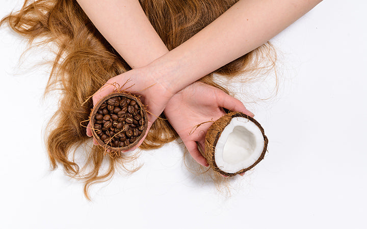 natural beautiful hair and organic cosmetics coffee and coconut