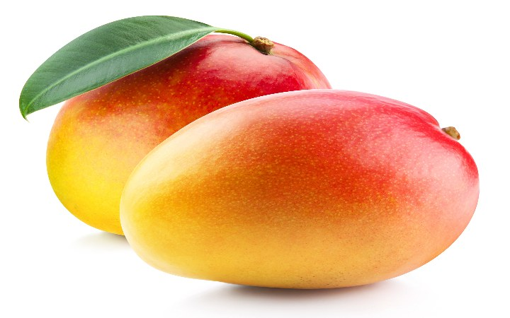 two ripe mangoes on white background