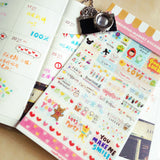 Fun and tiny decorative stickers with transparent background for planners and journals