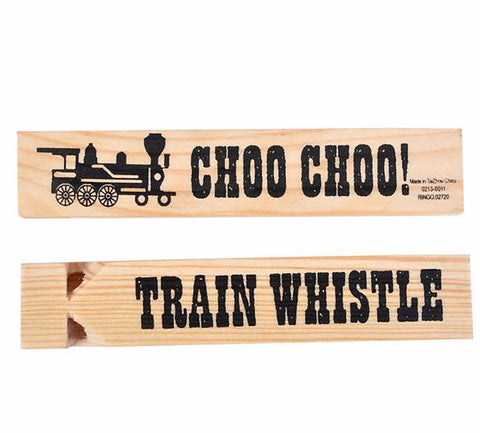 "5.75"" Wooden Train Whistle, 1 Count - ShutUp! Toys"