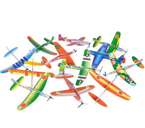 "8"" Flying Glider Plane, 12 Count, Assorted Styles - ShutUp! Toys"